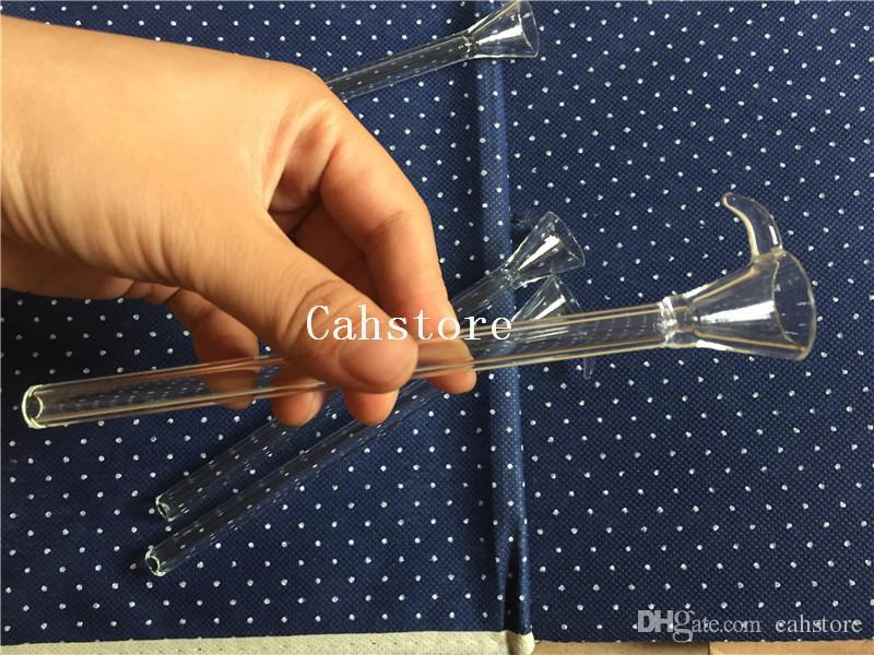Estilo del embudo del resbalador del tronco de cristal con la manija venta caliente Fabricación el vástago masculino de cristal barato, downstem simple para el tubo de agua, bong de cristal