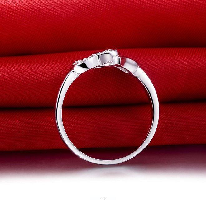 Großhandel Schmuck Doppel Herz zu Herz Qualität Sterling Silber Schmuck Ring Weißgold Farbe Ring für Frauen Engagement Romantische Schmucksachen