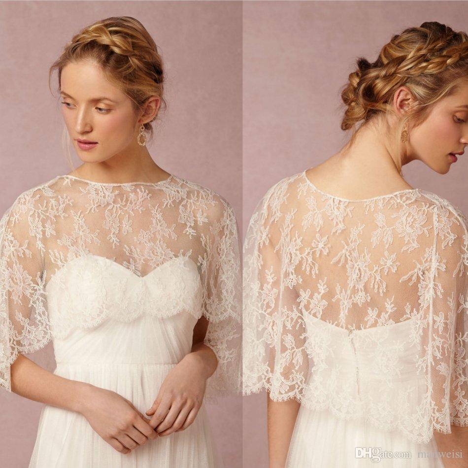 2016 Newest Bridal Wraps Short Coat Jewel Neckl Lace Jackets Wedding Capes Bolero Jacket Dress Shrugs Plus Size