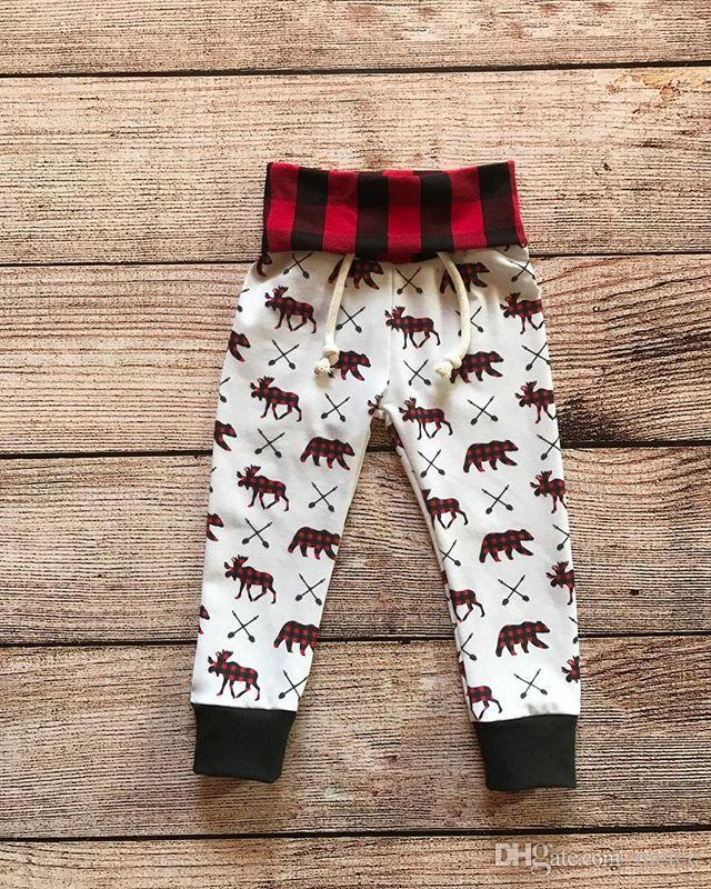 Enfant en bas âge ensemble bébé Deer Bear impression tenue infantile garçon fille à capuche + pantalons Vêtements Set pour 3M-4T