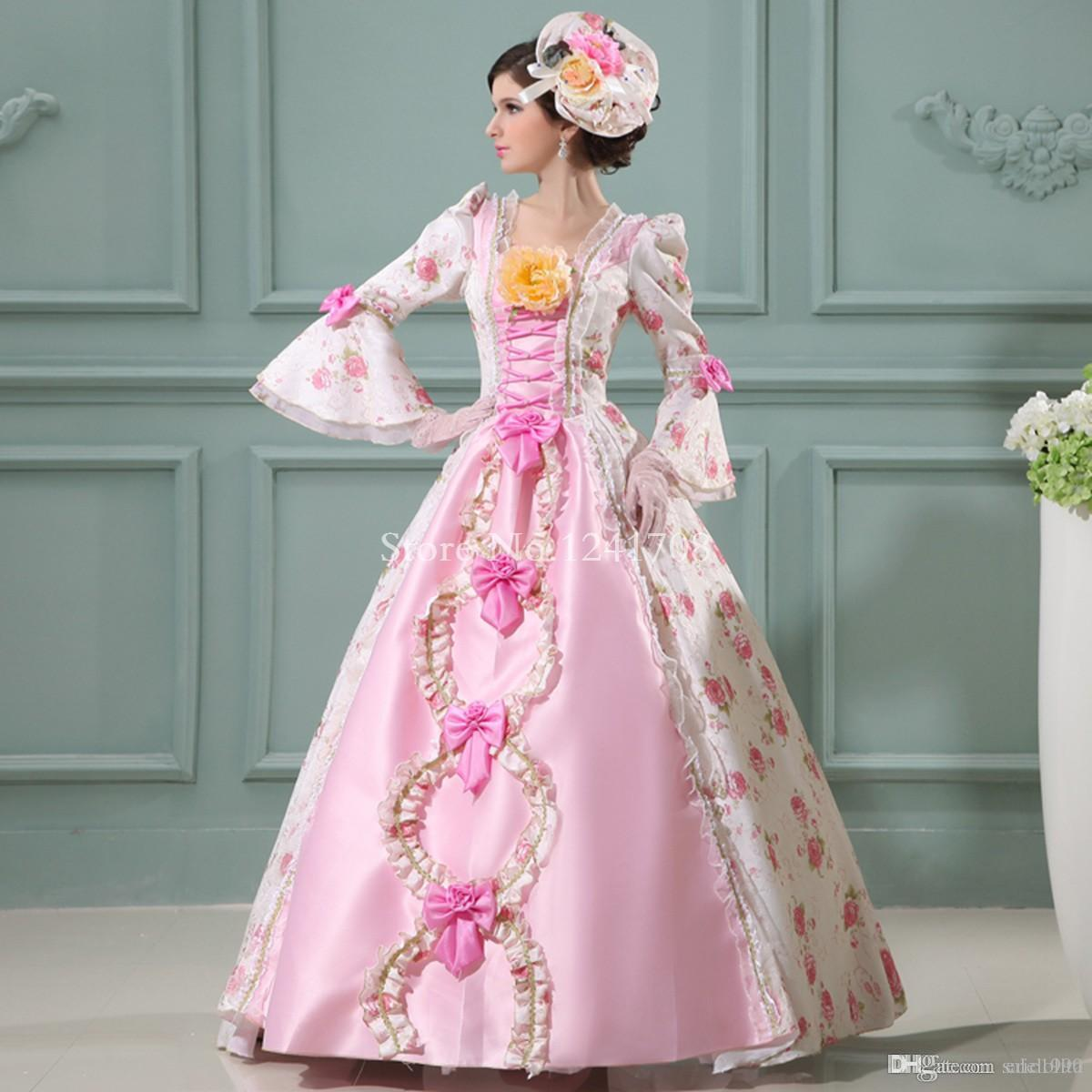 Best Sell Pink Baroque Rococo 17th 18th Century Marie Antoinette Floral Wedding Party Dress European Court Period Dress Costume