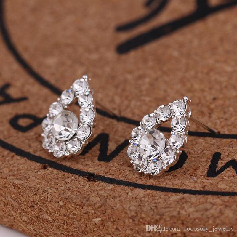 45 Stilleri Küpe Yaratıcı Kulak Çiviler Moda Takı Kar Tanesi Bira Kristal Rhinestone Inci Küpe Çivili Toptan