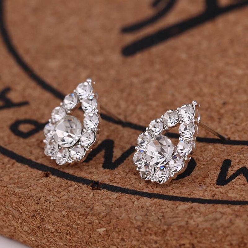 Hot sell 45 styles creative ear studs fashion snowflake beer crystal rhinestone pearl ear studs new pearl earrings