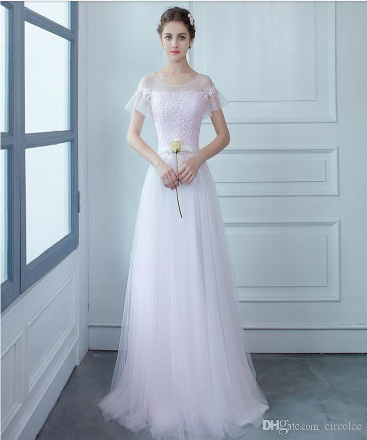 2016 Bridesmaid Dresses Online Cheap Sweety Lace Up Sweep Train ...