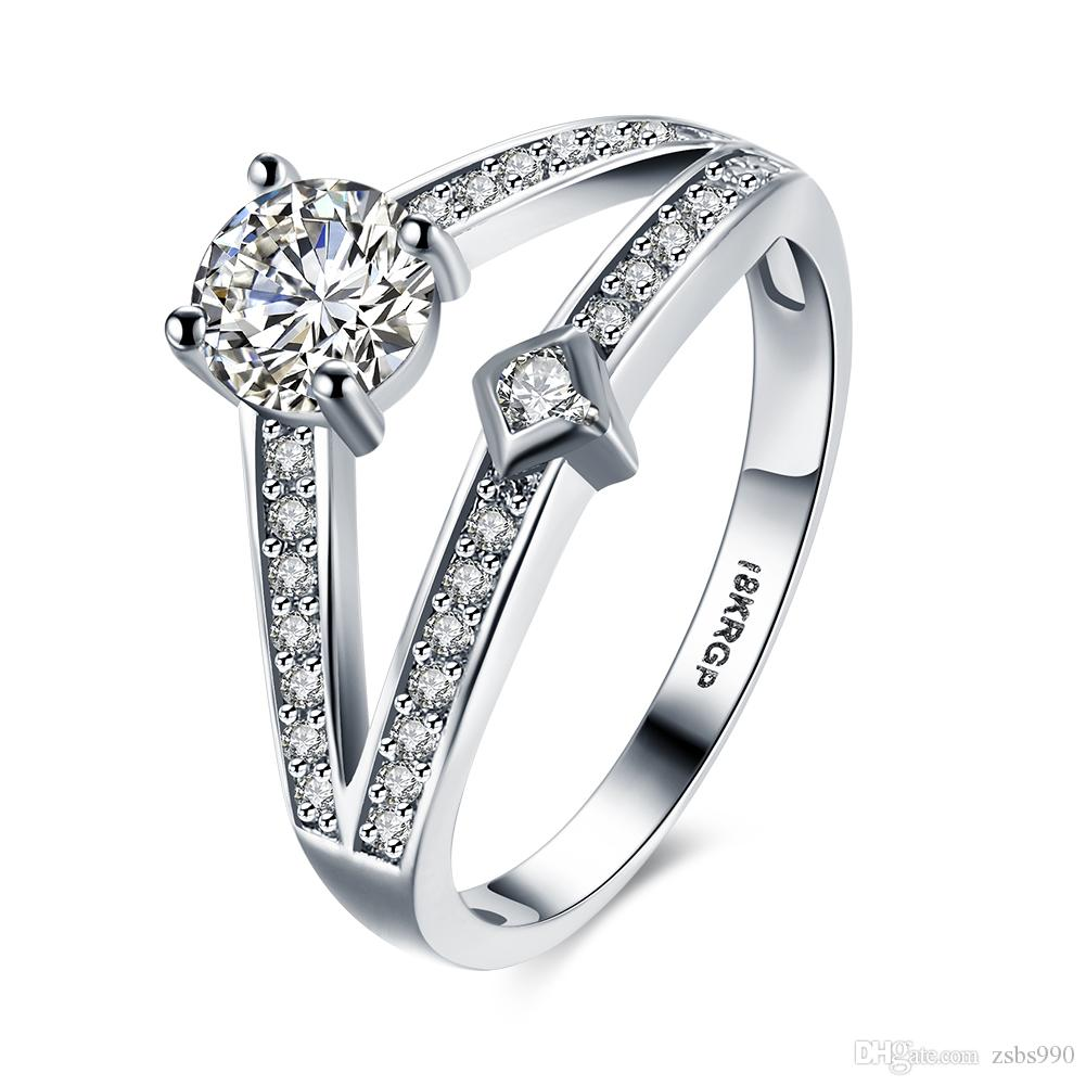 1d6b158b5 2019 New Design 18K White Gold Plated 4A Zircon Engagement / Wedding Ring  For Women Fashion Designer Jewelry Size 6 9 # From Zsbs990, $2.25 |  DHgate.Com