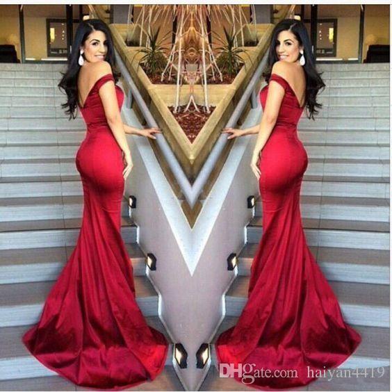 2016 Nuevos Vestidos de Fiesta Magníficos Fuera del Casquillo del Hombro Mangas Sirena Rojo Oscuro Satén Borgoña Largo Vestido de Noche Barato Fiesta Vestidos Formales