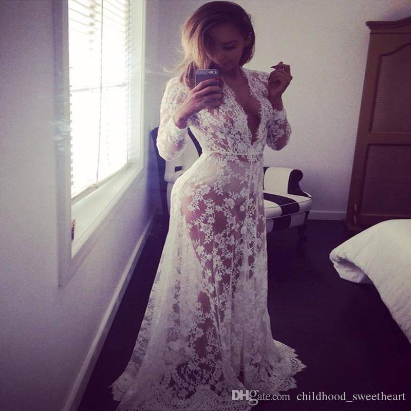 ae3ea811aa White Lace Long Sleeve Deep V Summer Dress Beach Cover Up Swimsuit Bikini Cover  Ups Mother Of The Bride Dress Retro Dresses From Childhood_sweetheart, ...