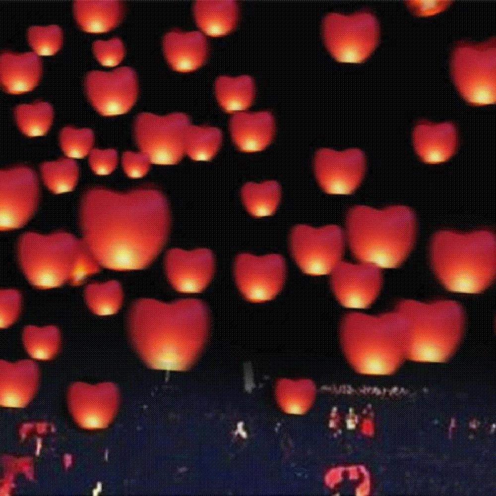 Love Heart Sky Lantern Flying Wishing Lamp Hot Air Balloon ... for Flying Lantern Lights  59nar