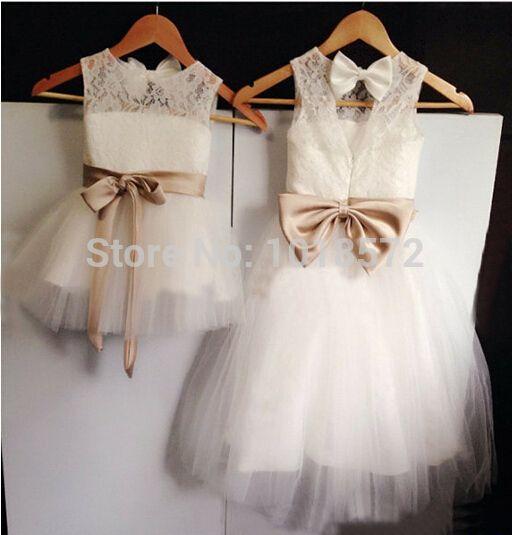 2016 nuevos vestidos de niña de flores reales Fajas de arco Keyhole Party Comunion Pageant Dress for Girls Vestidos de boda baratos