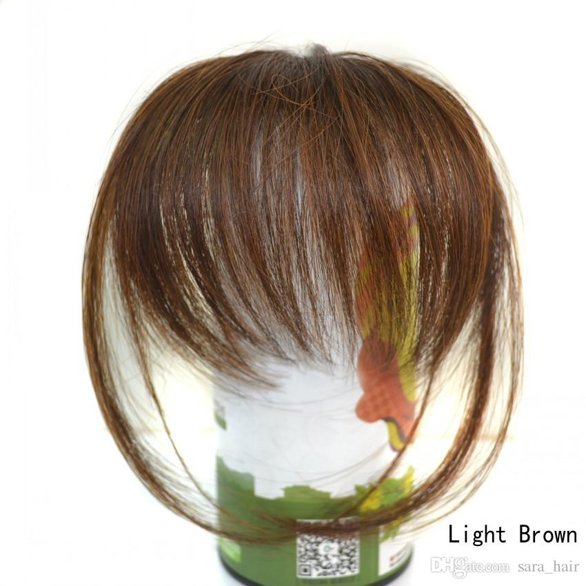 Sara 10 * 20 CM Shuangbin Bang Clip in Frangia di capelli umani simili Frangia Franja donna Scoppi Estensione dei capelli anteriori Parrucchino sintetico