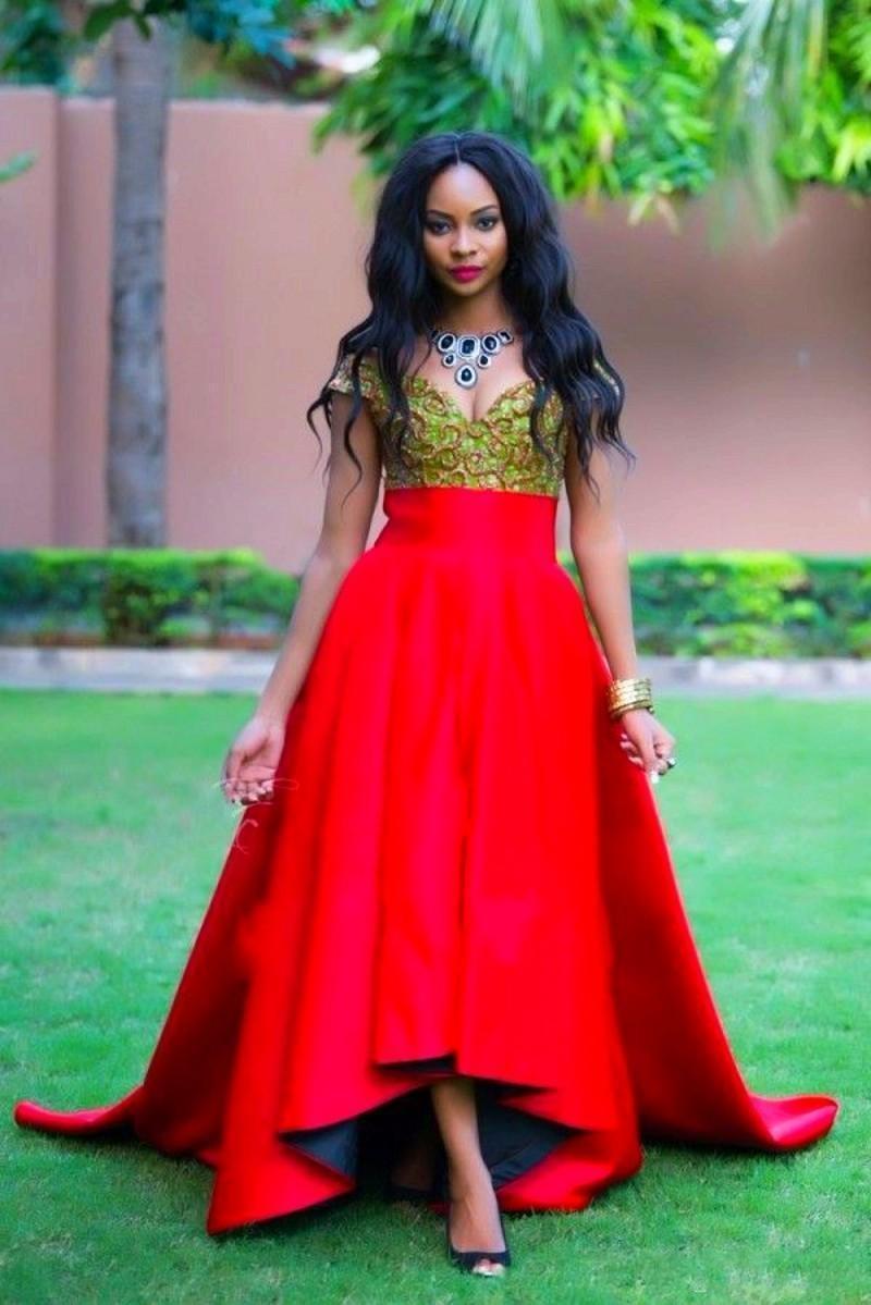 Elegant Red Hi Lo Black Girl Prom Dresses 2016 Cap Sleeves
