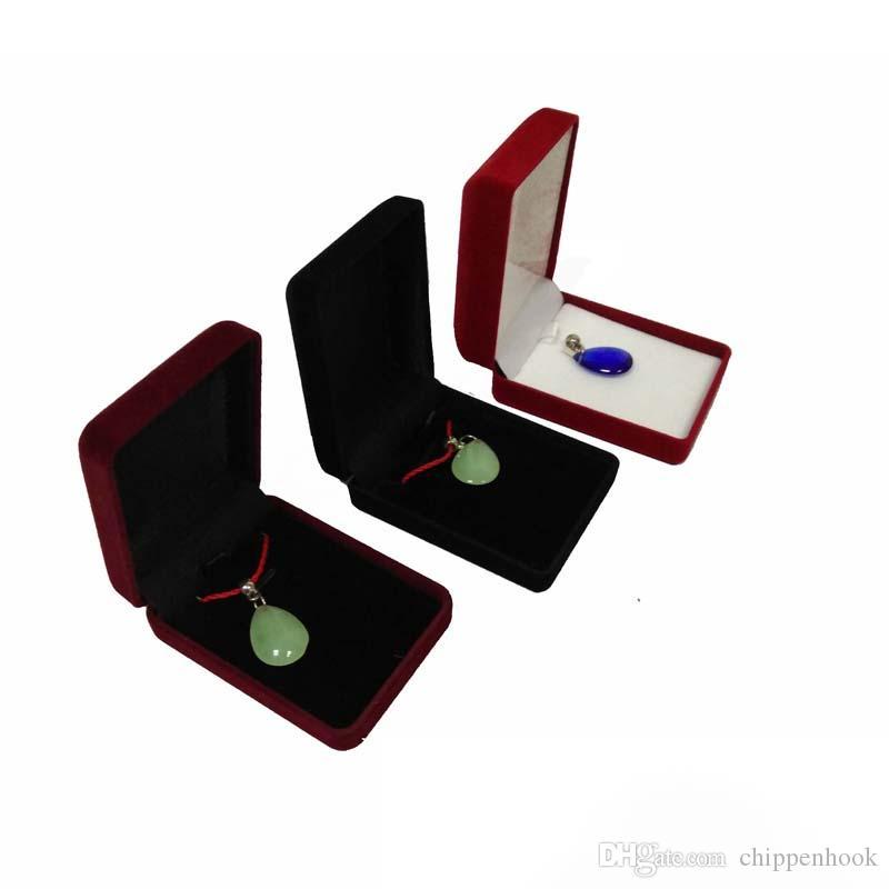 rectángulo de joyería caja de la pantalla al por mayor de es del perno prisionero de terciopelo almacenamiento caja de regalo colgante de collar sostenedor del organizador de la caja de regalo