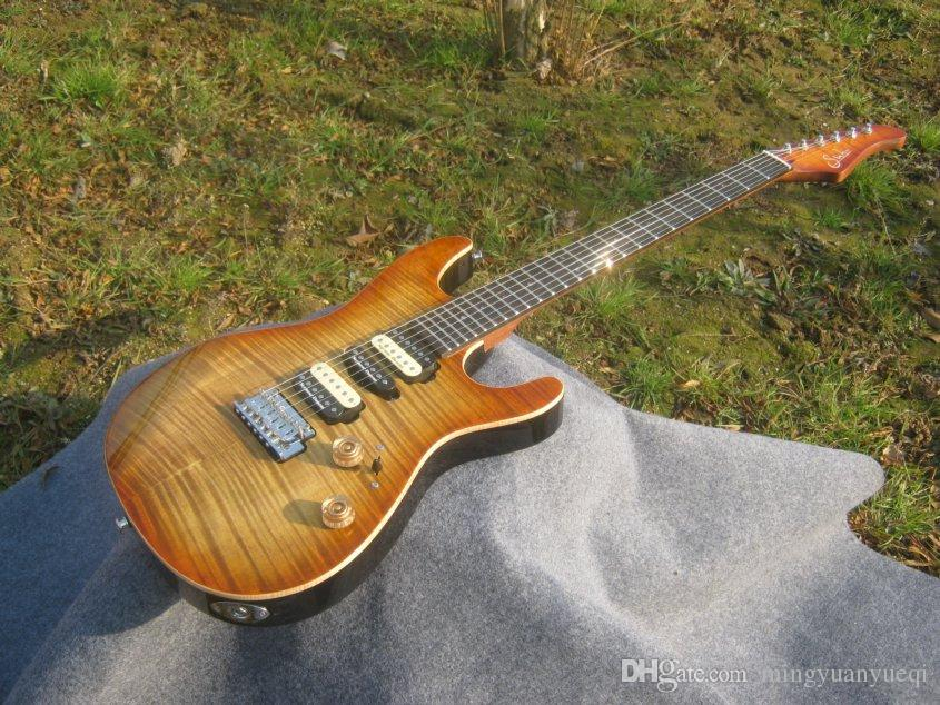 Best Selling Sur electric guitar thin brown burst,2 posts tremolo,ebony fingerboard!