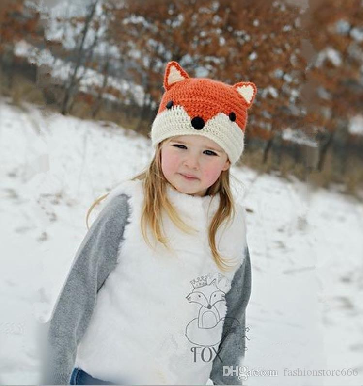 Nuovo inverno Fox Hat Neonato Infant Toddler Kids Crochet Knitted Hats Baby Boys Girls Cartoon Animal Caps Beanie fatti a mano