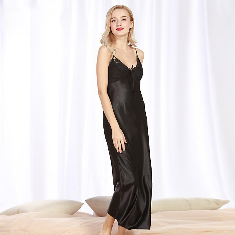 3c1df7312eab Imitation Silk Pajamas Ladies Long Section Split Open Sexy Sling Sleep  Dress Sexy Home Service Luxury Ladies Nightwear Mens Sexy Pyjamas From  Jintaonote