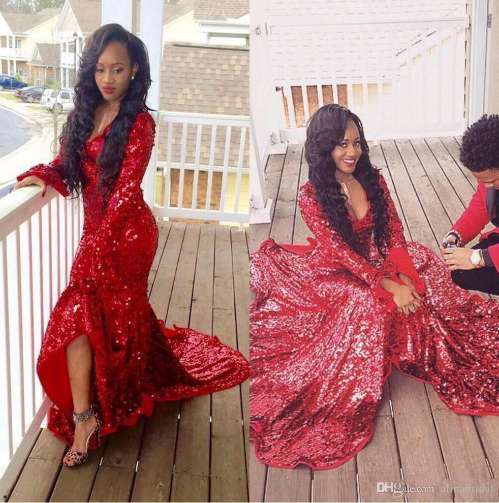 African style Red Sequined Formal Mermaid Prom Dresses Long Sleeves Ruffles V Neck Black Girl Dress Formal Evening Gowns custom Made 2018