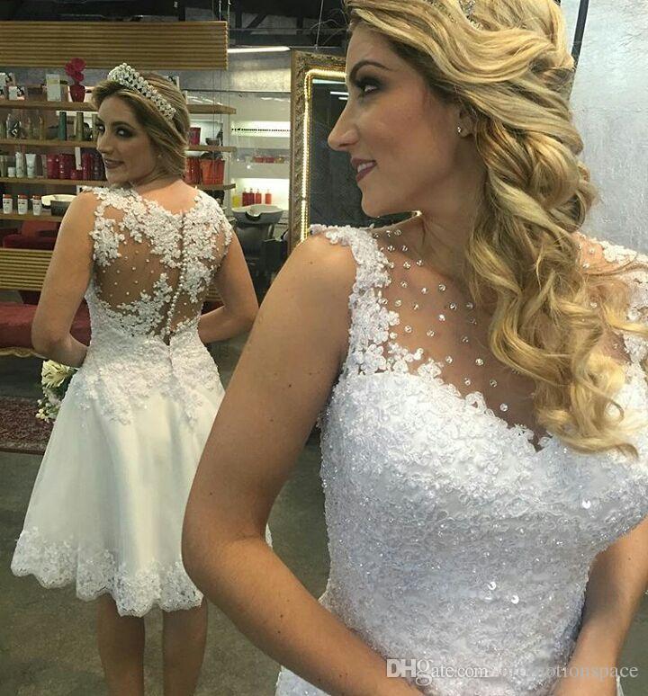 أنيقة بلا أكمام فساتين زفاف قصيرة طول الركبة تانك أثواب الزفاف مطرز فستان العروس قصير appliqued