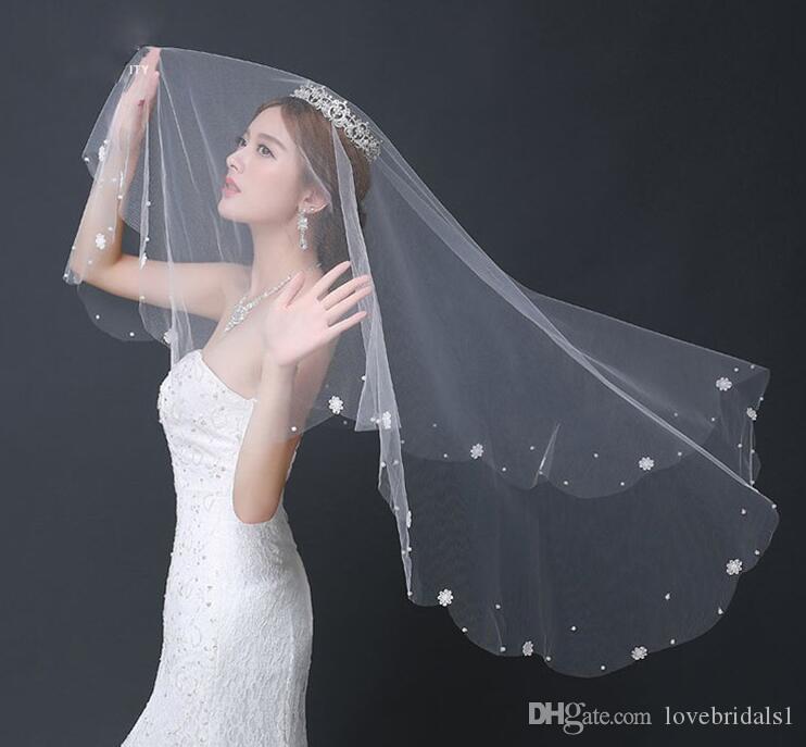 trasporto libero veli da sposa 1.5 m applique perline tulle lunghezza polpastrello la vendita calda di nozze a buon mercato