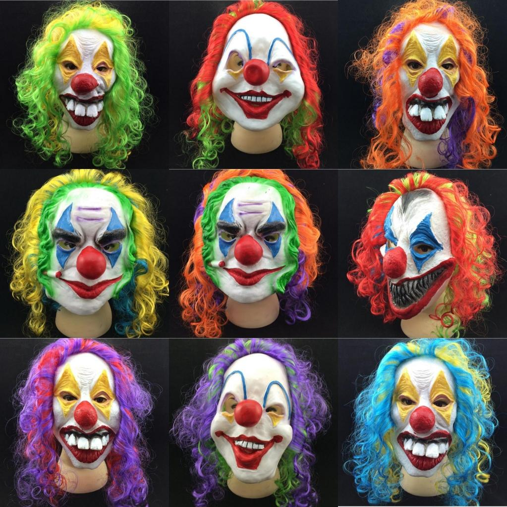 Men Scary Clown Face Masks Halloween Masks Vinyl Funny Clown Full ...