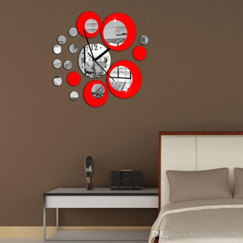 Moderne diy große wanduhr 3d spiegel oberfläche aufkleber wohnkultur kunst design neu