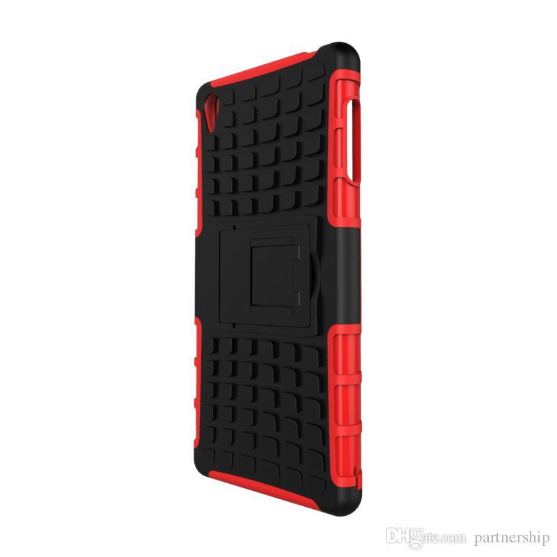 Estuche rígido híbrido con textura de armadura para Sony Xperia Z2 Z3 Z5 Compacto Premium M4 Estuche Aqua M5 Dual X XA Funda a prueba de golpes de stent