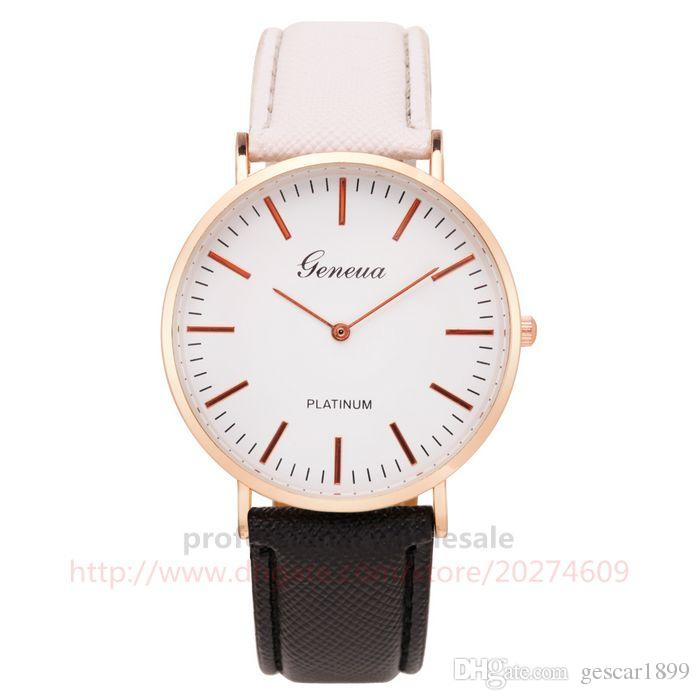 Brand New Fashion Style Christmas Gift Colorful Leather Belt Watch Quartz Wristwatch For Men Women Couple Kids