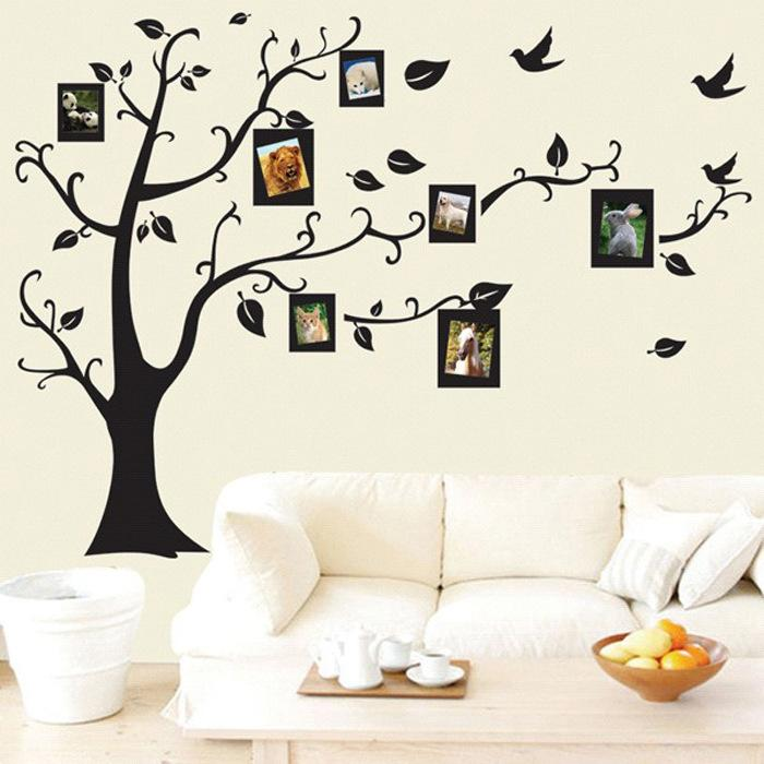 2017 New Large Size Black Family Photo Frames Tree Wall Stickers ...