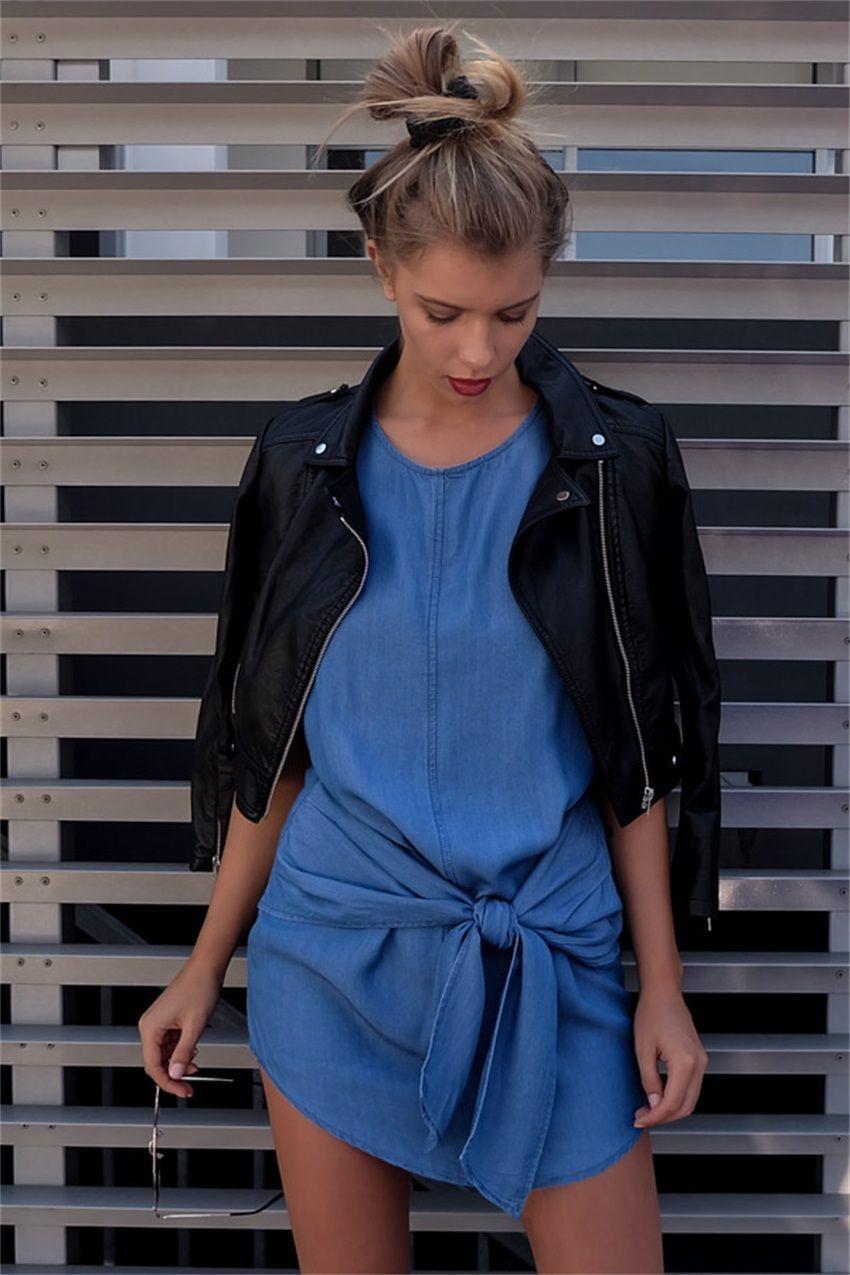 Europe and America New Denim Dress Waist Strap Long Section Dresses Round Neck Short-Sleeved Denim Dress 10