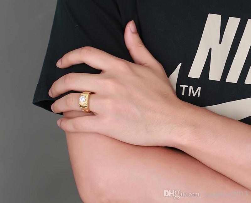 أزياء جديدة ذات جودة عالية فاخر 18K مطلية بالذهب 3A الزركون الرجال الفولاذ المقاوم للصدأ بلينغ الأبيض حجر الراين حزب خاتم الزواج مجوهرات RC-184