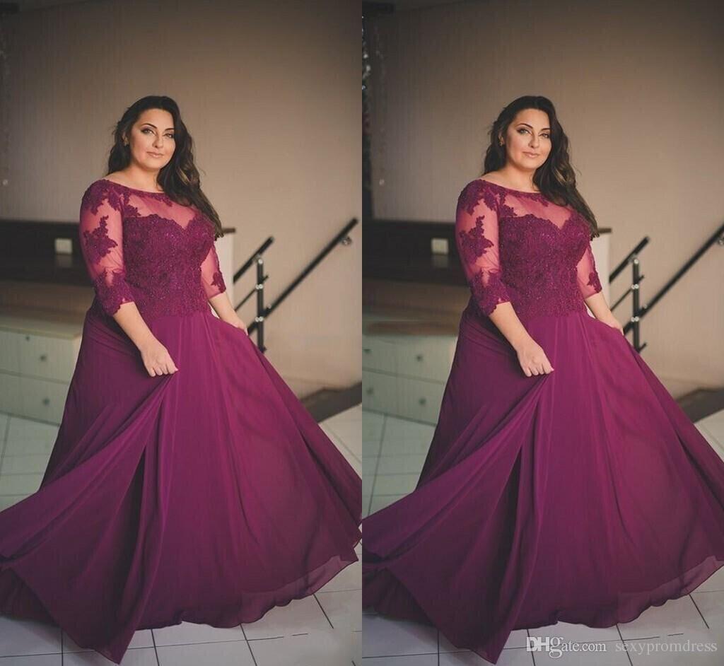 Más el tamaño de Borgoña Vestidos de baile 2017 Apliques de encaje Media manga larga Vestidos de noche Sheer cuello gasa Una línea Vestidos de fiesta formales por encargo