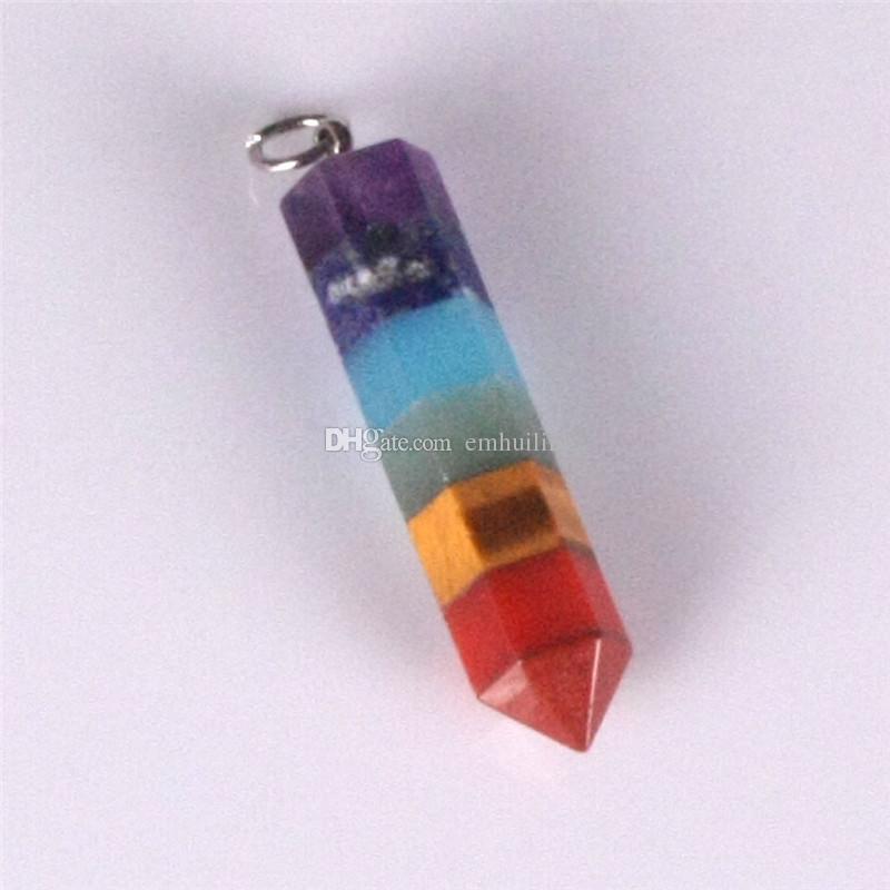 Rainbow 7 Chakra Layered Amethyst Lapis Aventurine Tiger Eye Jasper Healing Dowsing Reiki Gem Stone Charms Pendulum Crystals Hexagon Pendant