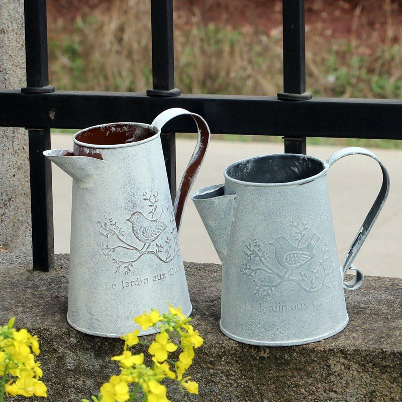 Watering Cans Flowers Bucket Metal Barrel Vases Vintage Zakka Style Home Gardening Ornaments Retro Metal Craft Artificial Holder