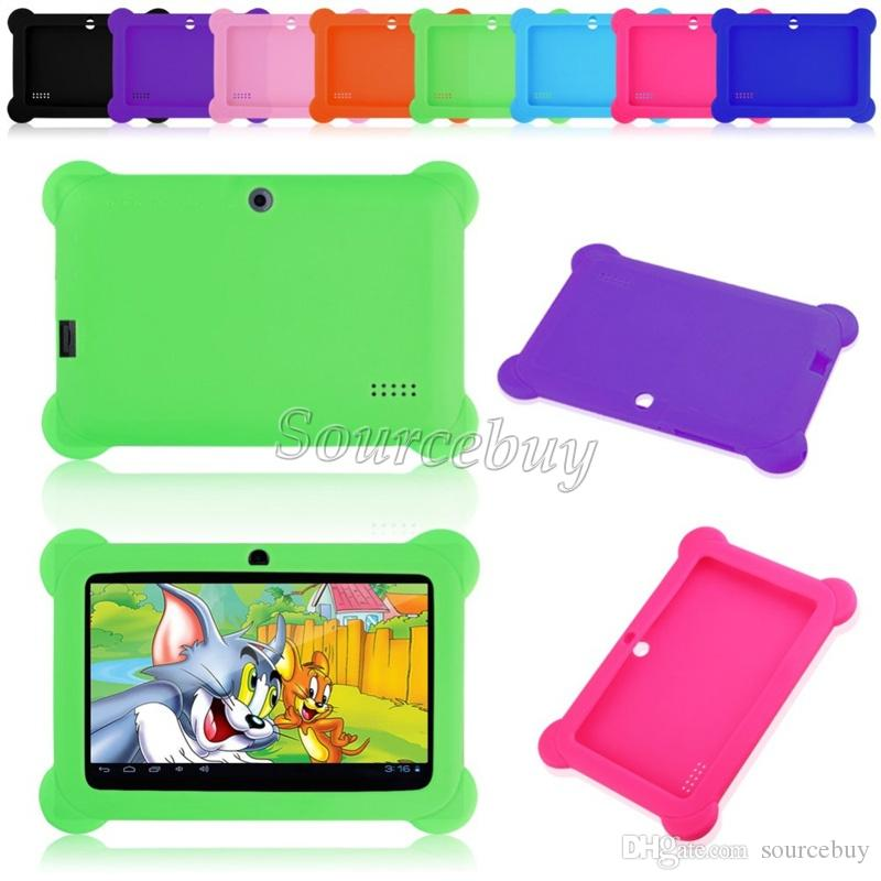 Cheap Anti-Dust Kids Child Soft Silicone Rubber Gel Case Cover For Q88 Q8 A33 7 Inch Android Tablet PC Drop resistance Kids Gifts