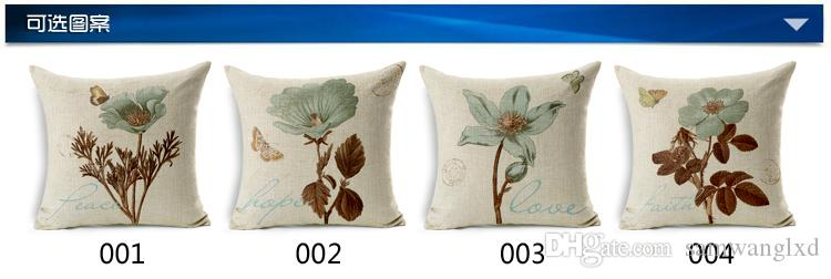 Europe Style Vintage Flower Cotton Linen Throw Pillow Cover 45*45cm Sofa Car Chair Seat Cushion Cover Home Decorative Pillowcases Square