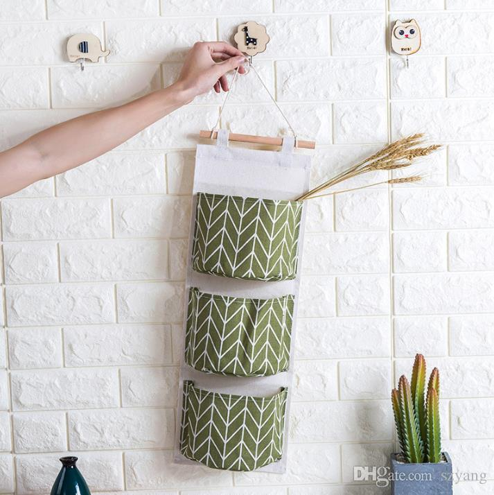 3 Pocket Cotton Linen Wall Hanging Organizer Bag Multi-layer Holder Storage Bag Home Decoration Makeup Rack Linen Jewelry