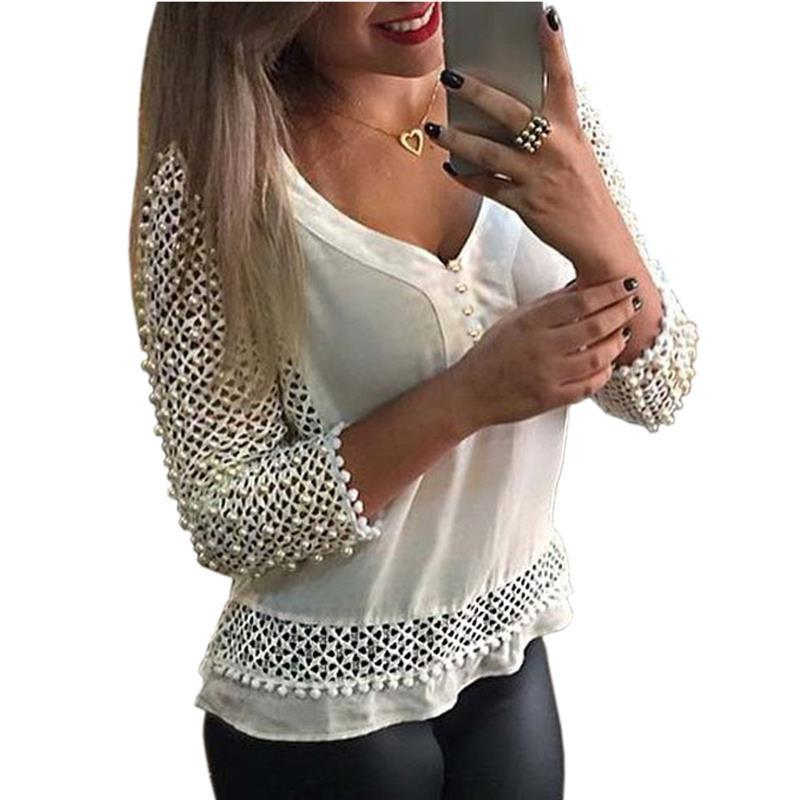 c6dcda435 2019 Blusas Femininas 2016 New Spring Women Long Sleeve White Lace Shirts  Lace Hollow Out Crochet Blouse Tops Sexy V Neck Shirt Tops From Kenna123