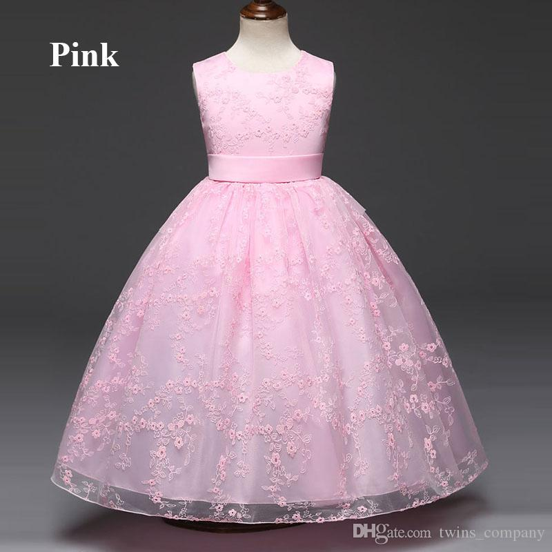 Abiti bambini Prom Gown Disegni Little Baby Girl Party Frocks Flower Girl Bianco Tulle Abito da sposa Girl Clothes