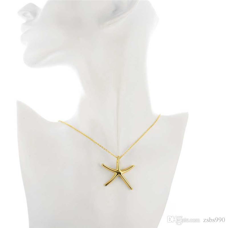Cute design 18K gold plated starfish pendant necklace fashion jewelry Christmas gift for woman Top quality