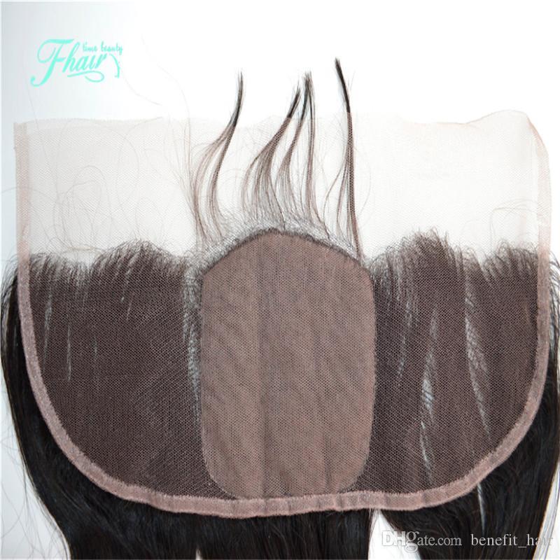 Capelli malesi della parte anteriore di base anteriore di capelli della parte frontale dei capelli della parte anteriore di capelli riccia 7A con capelli del bambino 13x4 nodi anteriori candeggiati del pizzo frontale