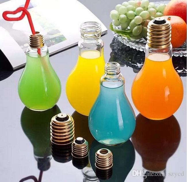 Kreative auffällige Glühbirne Form Tee Fruchtsaft Trinken Flasche Tasse Pflanze Blume Glasvase Home Office Schreibtisch Dekoration