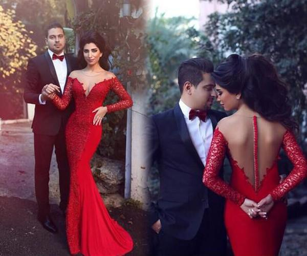 Arabic Elegant Red Evening Dresses Formal Sheer Neck Prom Dress Long Sleeves Sheer Back Romantic Lace Mermaid Formal Party Gowns