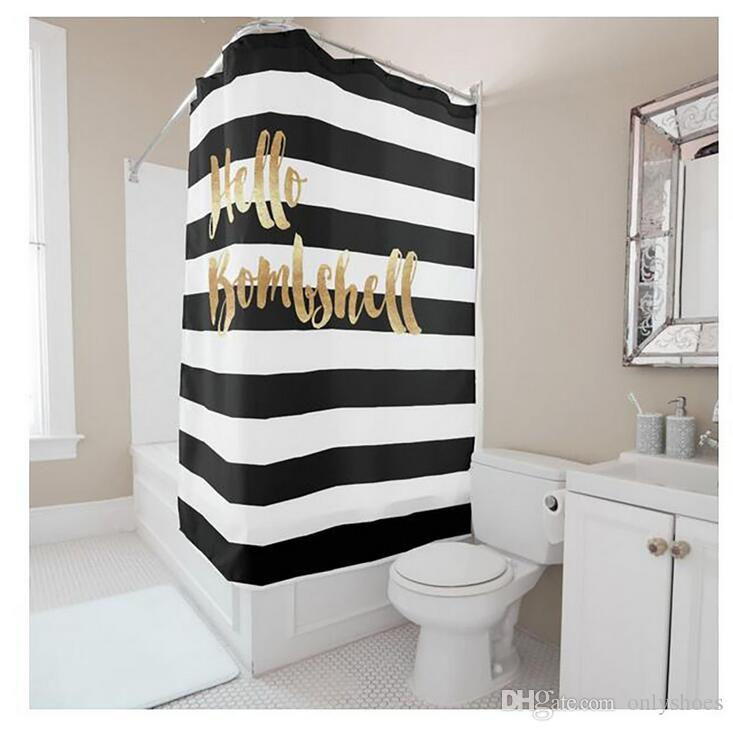 2019 Customs 36 48 60 66 72 W X H Inch Shower Curtain Letters Theme Black And White Waterproof Polyester Fabric DIY From Onlyshoes