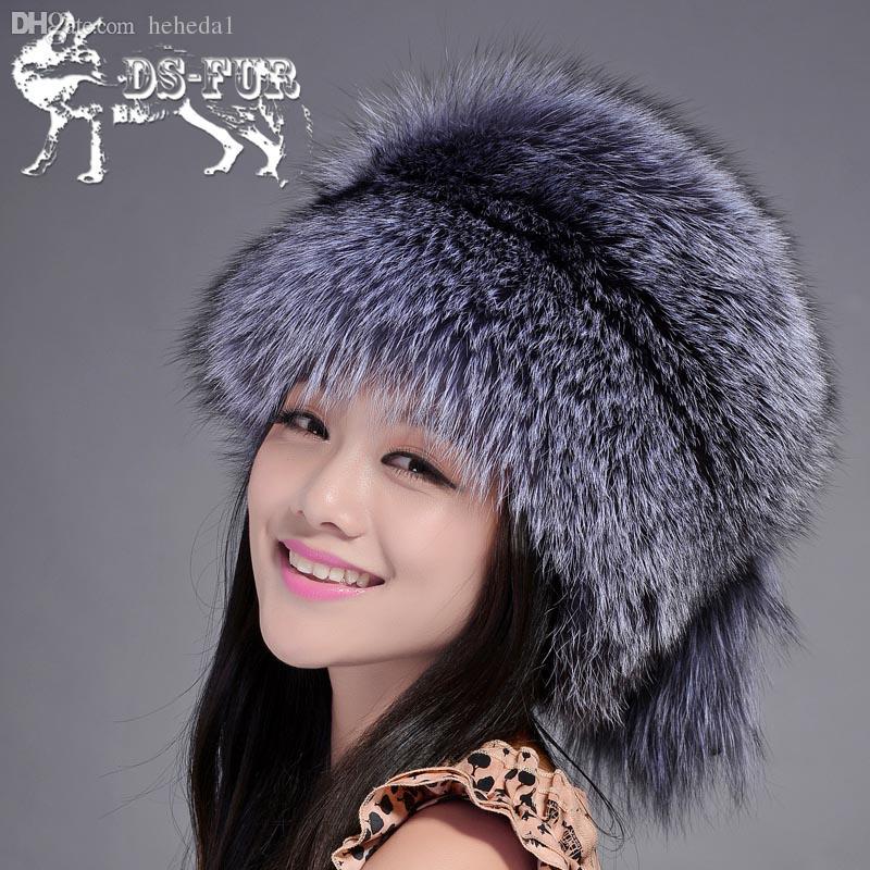 Wholesale-Women Winter Fur Hats Real Fox Fur Cap with Fur Tail New ... a0f6b9e3d51d