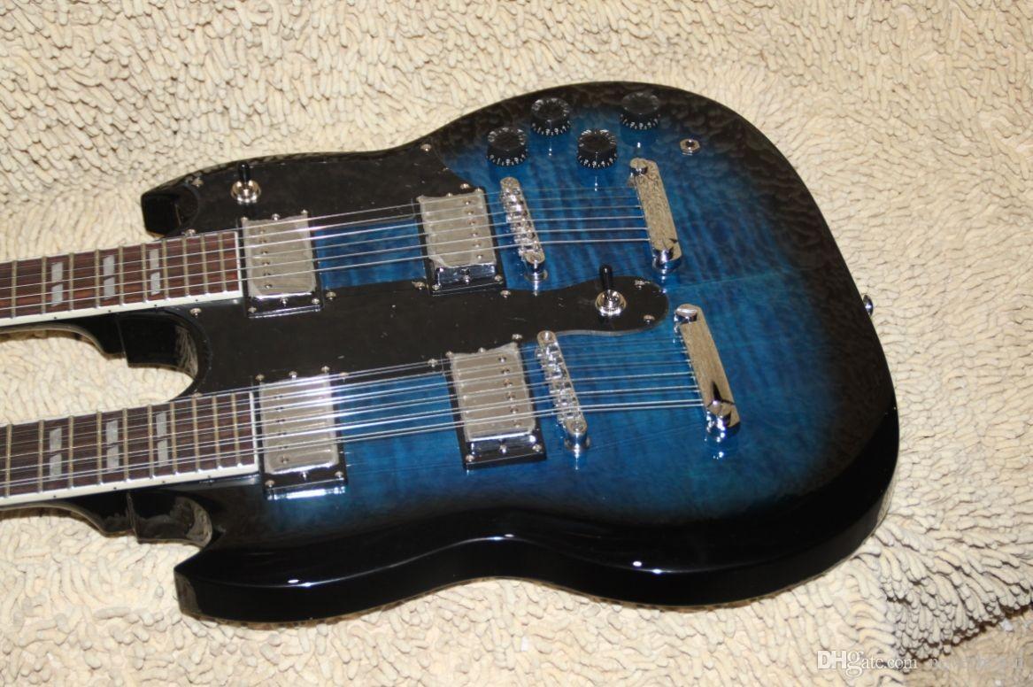 Toptan Satış - mavi Klasik Çift Boyun 1275 Özel Elektro Gitar 6 dizeleri ve 12 dizeleri Ücretsiz Kargo A11189