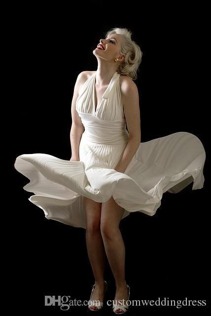 Robe De Soiree 2018 Marilyn Monroe A-Line Halter Neckline Sleeveless Uniform Ruched Short Chiffon Evening Dresses Sexy Open Back