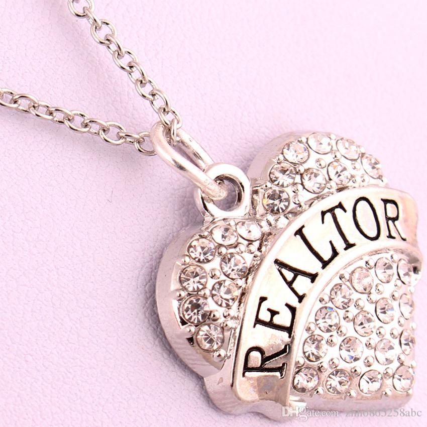 Neue Ankunft heißer Verkauf rhodiniert Zink mit funkelnden Kristallen REALTOR Herz Anhänger Gliederkette Halskette besetzt