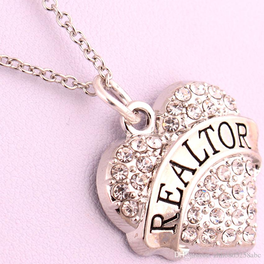 New Arrival Hot Selling rhodium plated zinc studded with sparkling crystals REALTOR heart pendant link chain necklace