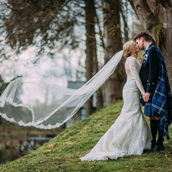2016New Top Quality Best Sale Chapel White Ivory Lace Applique veil Bridal Head Pieces For Wedding Dresses