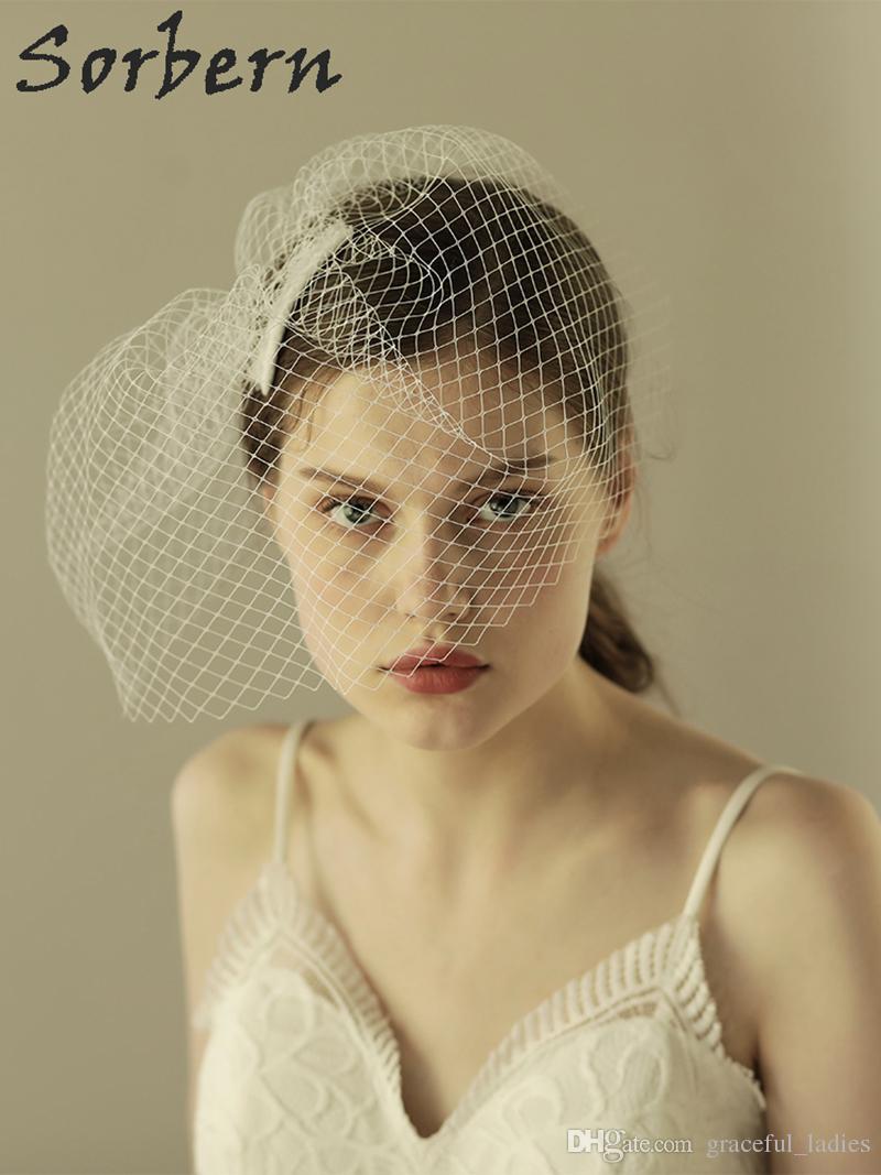 Sorbern Gelin Peçe Şapka Gelin Tek Katmanlı Tasarım Düğün Saç Aksesuarları Kadınlar Için Zarif Stil El Yapımı Parti Güzel Hediye Beyaz takı