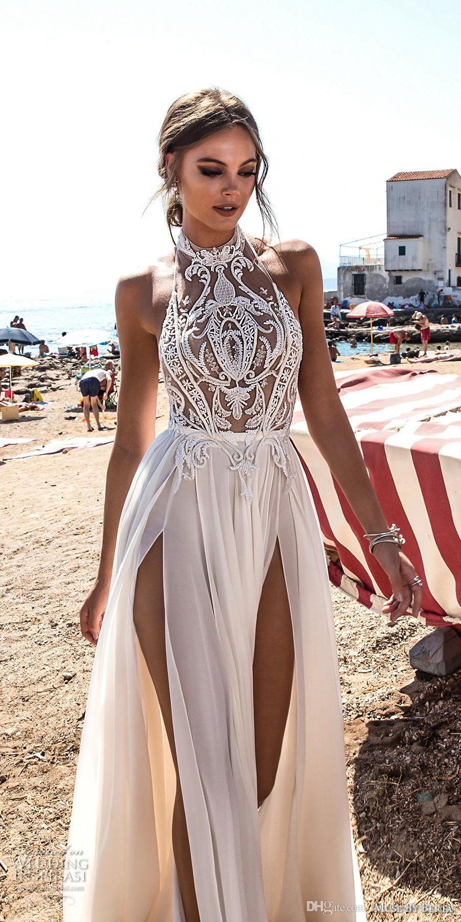 2018 Betra Sheer Halfter Chiffon Split A Line Brautkleider Durch Spitze Applique Backless Sommer Strand Hochzeit Brautkleid gesehen